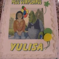 Shrek Edible image. Cropped a little girl's photo to appear that she is sitting on Shrek's lap!