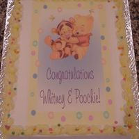 Winnie The Pooh Baby For this cake, I scanned the napkin that matched the baby shower decor, cropped, edited and added my own background and matching yellow...