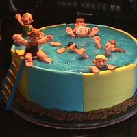Swimming Pool Cake  For our family reunion, a cherished scene from our childhood summers. The figures represent all six sisters and a couple of our cousins....