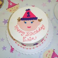 Erin's 1St   Fondant design on buttercream, designed to match the tablecloth and napkins.