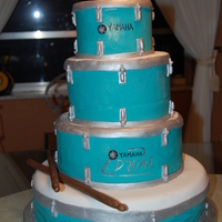 Grooms Cake For Drummer This cake was made for a wedding. All pieces were hand painted.