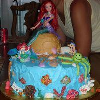 Under The Sea Cake for niece's birthday - Ariel under the Sea. Some fish and coral are made from molds and some coral, turtle, octopus are free hand...