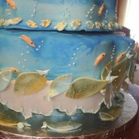 Pisces Birthday Cake I did this for my moms birthday party .It was a big hit. Thanks to Collette Peters Birthday cakes book. Lots of work more than 12 hours...