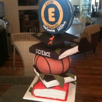 Graduation Cake With Basketball Theme Stacked up high, this grad cake was the center of my nephew's party. I used a center pole fastened, to a wood board. I used RCT for...