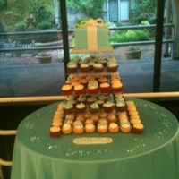 Tiffany Blue Cake And Cupcake Tower Gift box cake accompanied by 100 cupcakes in 3 flavors.
