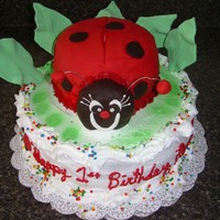 Ladybug Cake I made this cake for a little girl's birthday. The lady bug was a cake made out of fondant...It was so much fun to do.