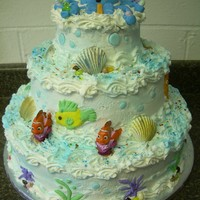Under The Sea Baby Shower Cake Under the Sea baby Shower Cake. I made an octopus made out of fondant on the top of the cake with the tentacles holding baby bottles,...