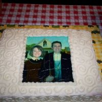 "American Gothic Going Away Party This was a going away cake for pastors at our church who left to plant a church. My husband used photoshop to put their faces in the ""..."