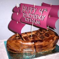 Pirate Ship Cake Pirate Ship, chocolate cake, berry filling, MMF over top.