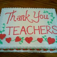 Thank You Teacher Cake Buttercream, Hearts & Apples
