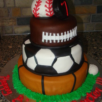 Carter's Sports Birthday Cake A fun way to incorporate all of Carter's favorite sports. All MMF with some buttercream accents. Thanks to audrey0522 for the...