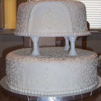 First Wedding Cake this is before the flowers were put on. this was my first wedding cake