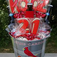 Happy 21St Kooz! NFSC w/ Antonia RI. Very simple cookies - just wanted to add a little to his Cardinal beer bucket gift. Added a few baseball cookies down...