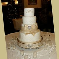 4 Tier Silver Dragees And Champagne Bow-Monogram