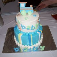 Baby Shower Cake Baby Shower cake done to match the invitations. all buttercream with fondant accents.