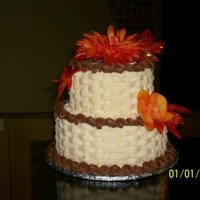 Fall Cake Iced in buttercream with silk flowers