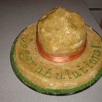 Sombrero! Ole! I made this for my friends Mexican themed bridal shower. Once I realized I needed to Dowel, it wasn't so hard!