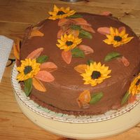 Just A Fall Themed Cake   Chocolate BC with Royal icing sunflowers and fondant leaves
