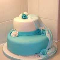 Aqua And White Wedding Cake This is a cake I did on my cake course, it's a dummy cake. TFL