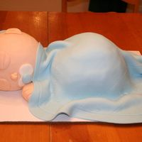 Baby Boy Cake Here is another baby cake. The head is made using the wilton sports ball pan. The body is from the wilton wonder mold pan. Covered in MMF...