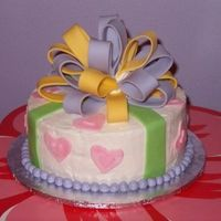 Birthday Cake With Fondant Bow