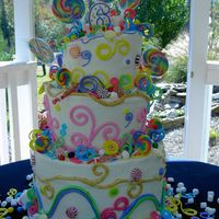 Whimsical Candy Birthday  My first attempt at a Topsy Turvy cake decorated for a friend's daughter's birthday. Cake was frosted in buttercream and...