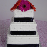 Wedding   3-Tier Square Wedding cake with simple dot decor and black ribbon.