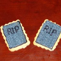 Tombstones Gray tombstone cookies made along with witches, bats, eyeballs, candy corn, ghosts, Jack O'Lanterns, moons, mummies, etc.... almond bc...