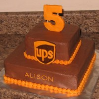 "Ups 6"", 10"" squares. Logo & #5 are made of fondant. Chocolate buttercream icing."