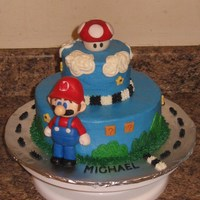 "Mario Kart 8"", 4"" rounds. Mario & mushroom made of fondant."
