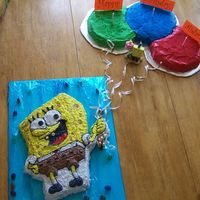 Spongebob W/b-Day Balloons  This was my first character cake for Aidan's 5th birthday. He was allergic to chocolate, but wanted his friends to have some. So,...