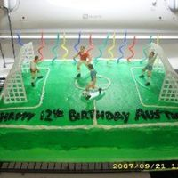 Soccer Birthday Cake  Chocolate cake with vanilla BC icing. Food color spray for field. Words and field lines in gel icing. The players & nets came from a...
