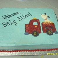 Firetruck Baby Shower Cake All BC icing. The firetruck is off the bedding that the parent's picked out from Burlington.