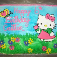 Hello Kitty Birthday Cake This one was also an order. It is white cake with strawberry filling. Buttercream icing. Hello Kitty and Butterfly are made using color...