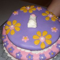 Baby Shower Cake Spice cake, cream cheese filling, fondant with fondant decorations.