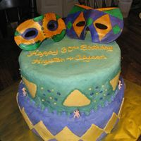 Mardi Gras Cake  This is a cake I did for a combined 30th birthday. They wanted white chocolate icing with chocolate ganche filling and triple chocolate...
