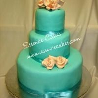 Turquoise And Peach Wedding Cake