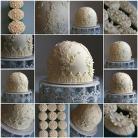 Vintage Lace Dome  A dear friend asked me to make him a cake for his family for Easter.... he specified that he wanted it to be all cream.. and the same as my...