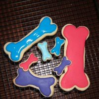 "Dog Bones Dog bones for DD's 2nd birthday party. These ended up becoming favors along with the paw's after a cookie monster ""disaster..."