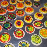 Tye Dye Multiple tye dye cookies for 70's themed party. These were fun...DH & DD helped pick the color combos :)