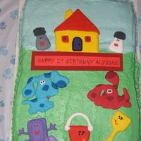 Blue's Clues Birthday Cake Made for DD's 2nd birthday party. Dark chocolate cake with vanilla buttercream icing. Figures are royal icing. Thanks to CC for...