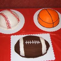 Sports Birthday My first cakes.......all buttercream icing. For my brothers surprise party.