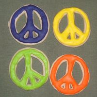 Peace Baby!!! Peace sign for 70's themed party. All royal icing....more like a royal pain :) Happy with the way they turned out :)