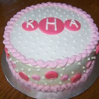 Pink Polka Dot Monogram Cake Welcome baby girl pink polka dot cake with monogram. I'm still new working with fondant. But I am trying to get the hang of it. I...