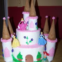 Princess Castle My 1st attempt at a castle cake. WOuld have been Ok if the figurines were a little smaller. Oh well.
