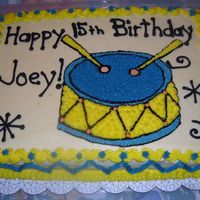 Joey Grinstead's 15 Birthday Drum Cake He's a teenager and loves the drums. His favorite cake flavor is white, and I used all buttercream icing. I used piping gell on wax...