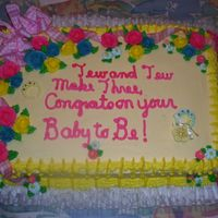 "Brittany Tew's Baby Shower Cake With their last name being ""Tew"" I thought the theme was very fitting! That was my first time with a bow and ruffle underneath. I..."