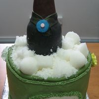 Ice Bucket plastic bottle covered with mmf. cake covered with bc. ice is sugar mold