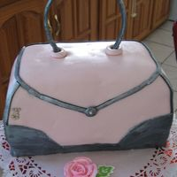 My First Mmf Purse Cake Used MMF. Royal icing rose and leaves.