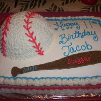 Batter Up   This was for one of my son's teammates 11th birthday. All buttercream.